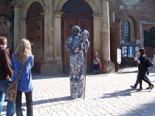 Gyvoji skulptūra Krokuvoje